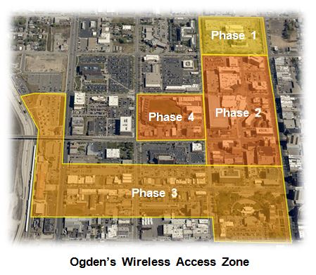 A map of proposed Free Public Wifi zones provided by WebNX and the City of Ogden